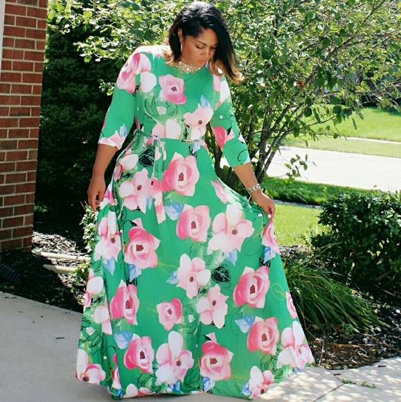 Floral Obsession Plus Size Maxi Dress Boutique